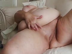 Supersized  grandma is jerking